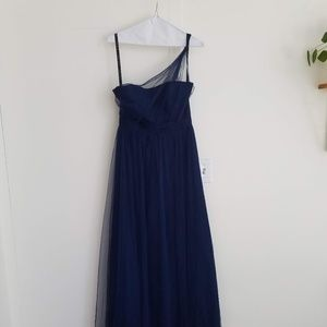 """""""Ink"""" Navy Alfred Angelo One Shoulder Gown"""